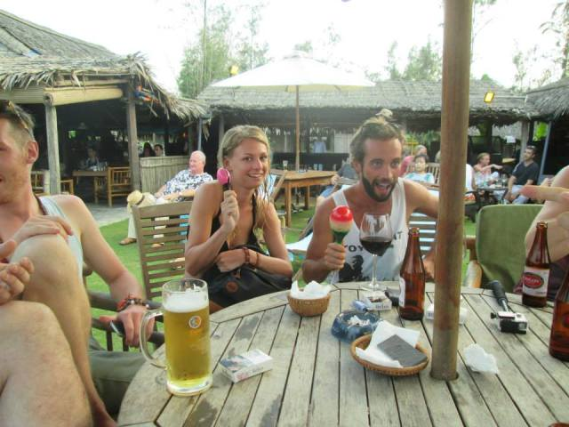 Chloe & I at the Beach Bar with the Hoi An crew