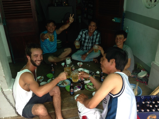 Freshly caught fish and beer with Anh & his mates